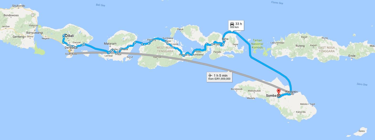 sandybali map bali - sumba island